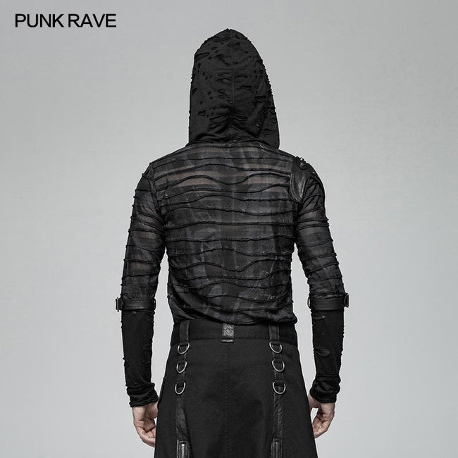 Men Punk Dark Printing Long Sleeves Hooded T-shirt