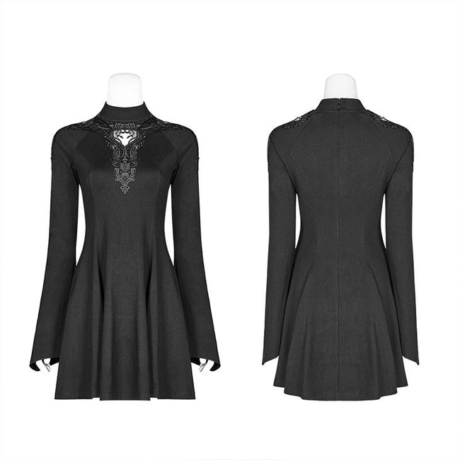 Gothic Women Hollow-out Collar Long Sleeve High Neck A-line Short Dress