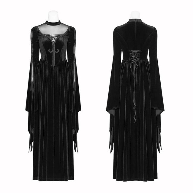 Gothic Women Double Layer Sleeve Long Velvet Dress
