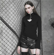 PUNK RAVE Heart hollowing out tie-up rope eyelet tight sweater (with rope)