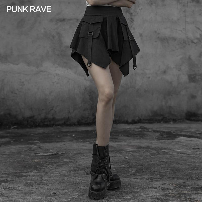 Gothic stitching dark mini skirt