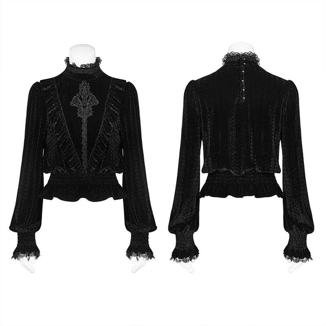 Gothic Middle Collar Dark-grain Velvet Blouse For Women