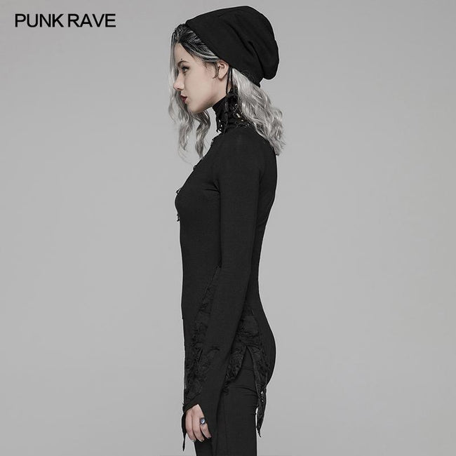 Dark Punk High Collar Long-sleeved Asymmetrical Knitting T-shirt