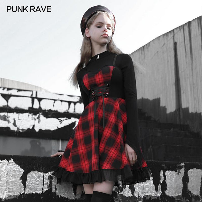 Stitched plaid braces skirt