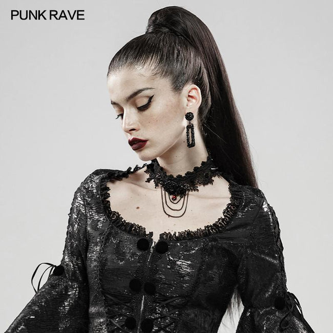 Rose And Thorns Gothic Lace Necklace