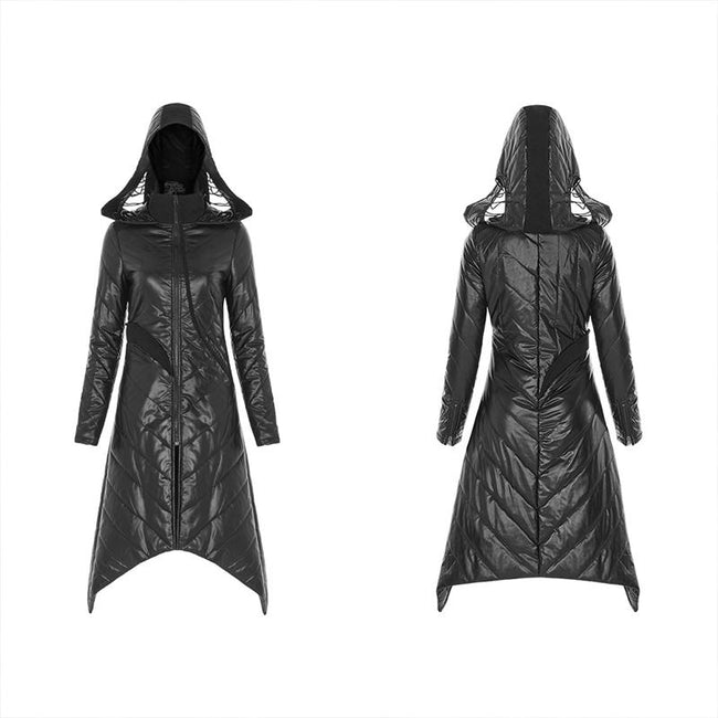 Dark Punk Geometric Split Medium Long Coat