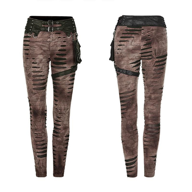 Steampunk detachable waistbag leggings