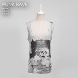 Digital Printing Sleeveless Punk Shirt