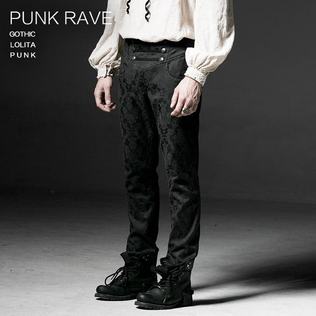 Punk Black Winter Flower Pattern Men Slim Gothic Pants