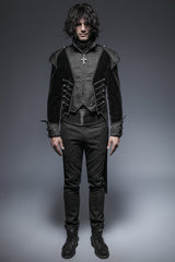 Unique Asymmetry Balck Gothic Trench Coats With Swallow Tail