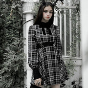 Plaid court collect waist dress