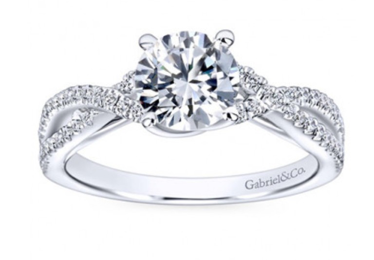 Gabriel & Co. 14K White Gold Round Brilliant Diamond Twisted Engagement Ring