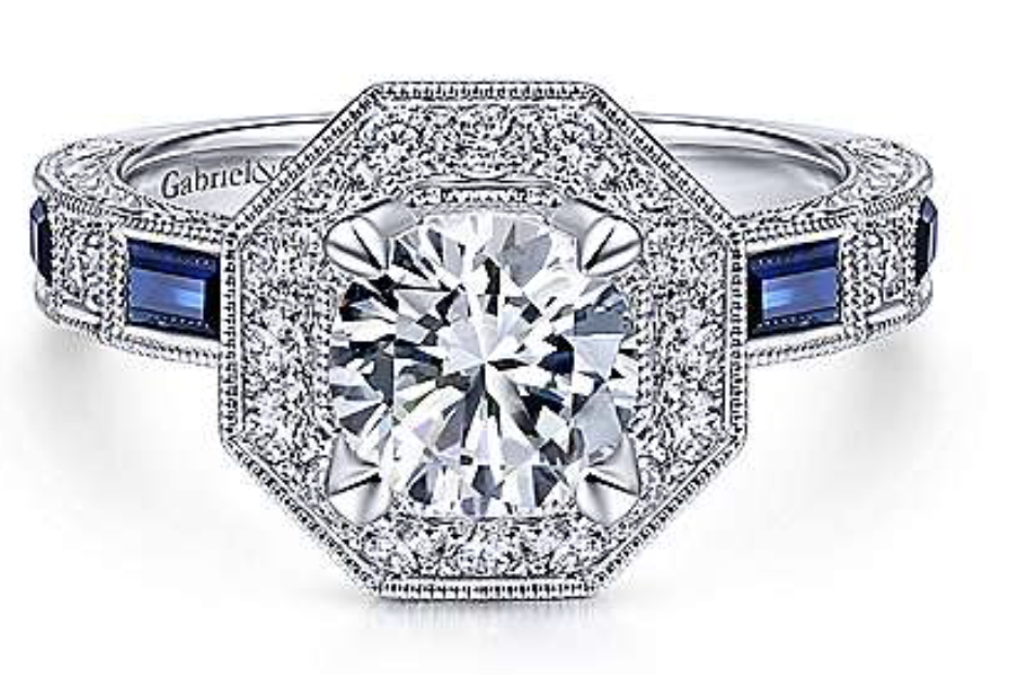 Gabriel & Co. 14K White Gold Art Deco Diamond and Sapphire Engagement Ring