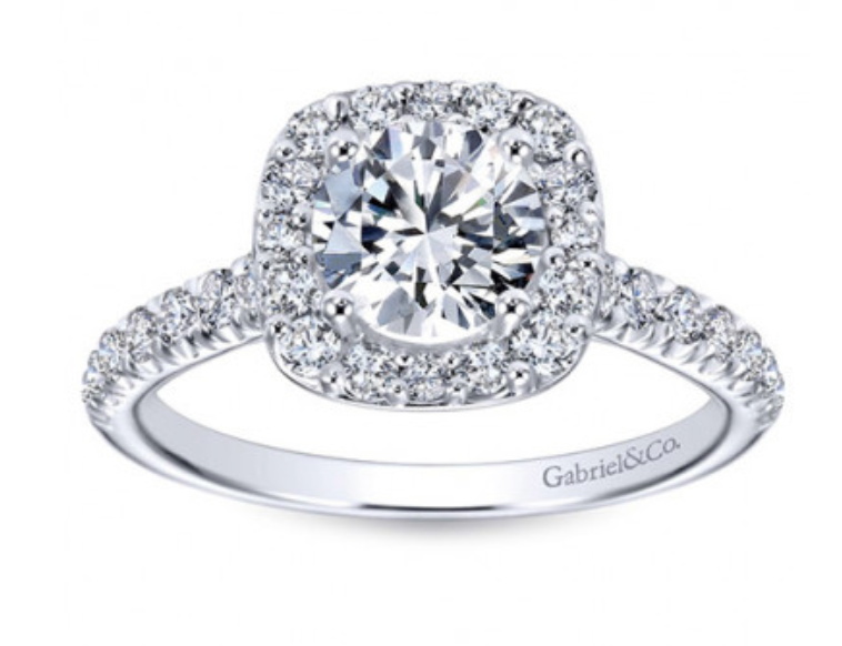 Gabriel & Co 14K White Gold Round Brilliant and Cushion Halo Engagement Ring