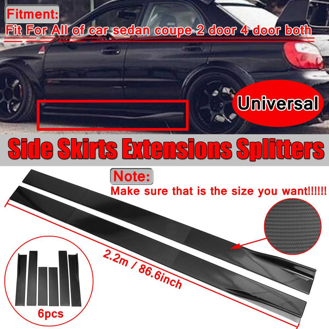 Universal 6PCS Carbon Look Side Skirt Extensions