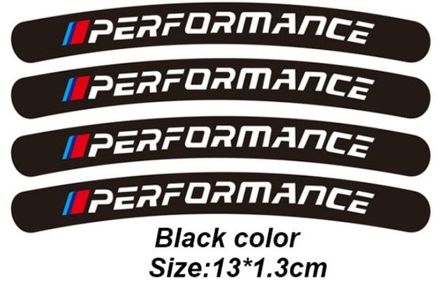 4pcs Power Performance M Car Wheel Sticker