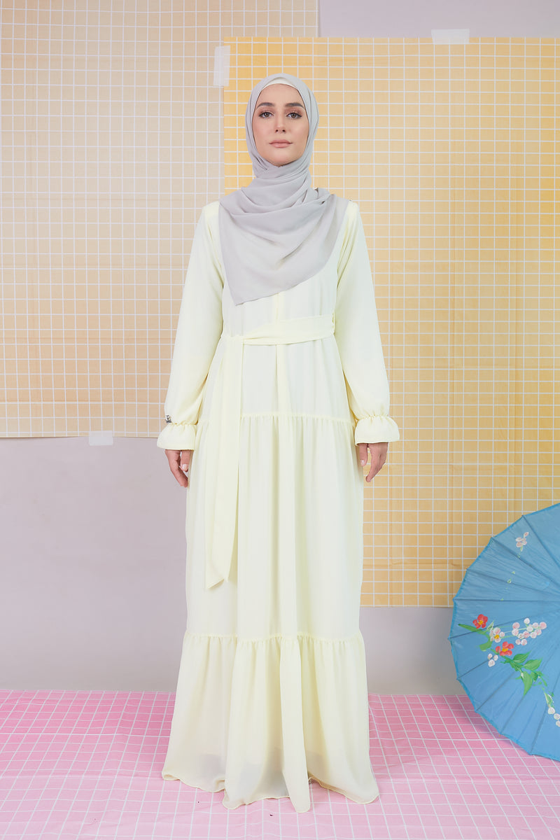 DELFINA DRESS (DFD01 - PASTEL YELLOW)