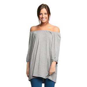 Emma Peasant Top - Heather Grey - Cozi Bear Boutique