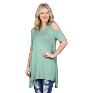 Cold Shoulder Tunic Top - Cozi Bear Boutique
