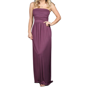Strapless Maxi Dress - Eggplant - Cozi Bear Boutique