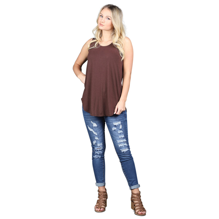 Relaxed Tunic Tank - Brown - Cozi Bear Boutique