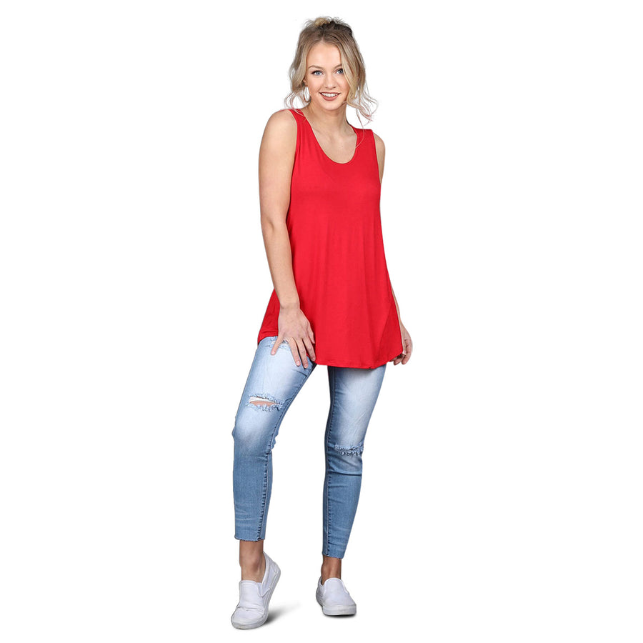 Relaxed Tunic Tank - Red - Cozi Bear Boutique