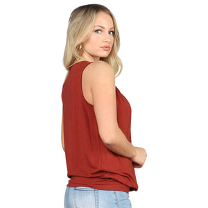 Pleated Layering Tank - Rust - Cozi Bear Boutique