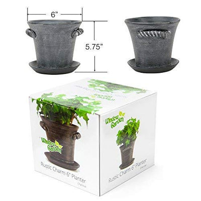 "Window Garden Rustic Charm 6"" Planter - Fine Home Décor Ceramic Indoor Decorative Pot. for or Herbs, Flowers, Succulents. Beautifully Packaged, Great Gift for Mom, Office, Holiday."