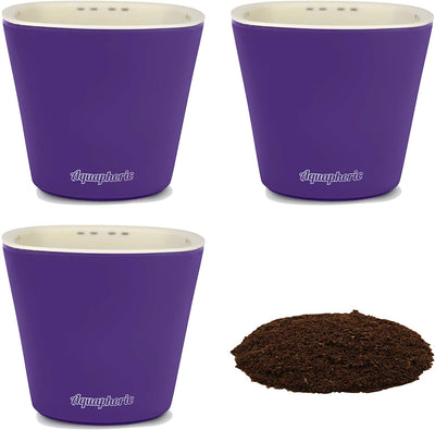 Window Garden – Aquaphoric Self Watering Mini Planter Pots (3 Pack) – Grow On Indoor Sill. Perfect for Potting Small Plants, Herbs, African Violets, Succulents, or Start Seedlings.
