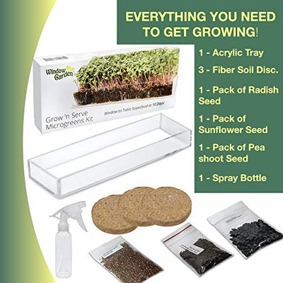 Window Garden Grow n Serve Microgreens Variety Kit X 3 - Easy Planting and Growing, Indoor Superfood Seed Gardening, Complete with Acrylic Planter Tray, Sprouting Seeds , Fiber Soil and Spray Bottle.