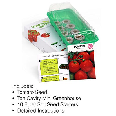 Window Garden - Tomato Vegetable Starter Kit - Grow Your Own Food. Germinate Seeds on Your Windowsill Then Move to a Patio Planter or Vegetable Patch. Mini Greenhouse System - Easy. (Tomato)
