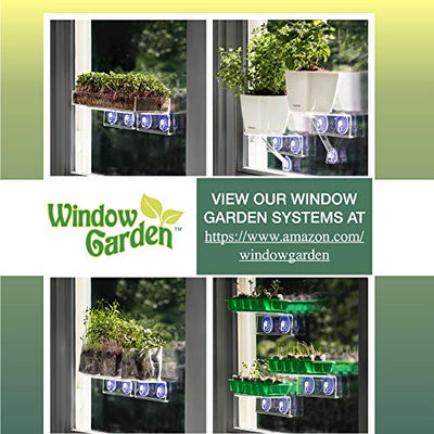 Window Garden Double Veg Ledge – Create an Indoor Garden, Hold Your Planter Pots, Seed Starter, Figurines on Your Window. Grow Herbs, Microgreens, Succulents, Sleek, Dependable. (2 Pack)