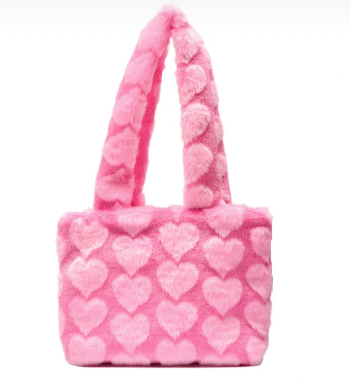 Pink Hearts Fluffy Shoulder Bag