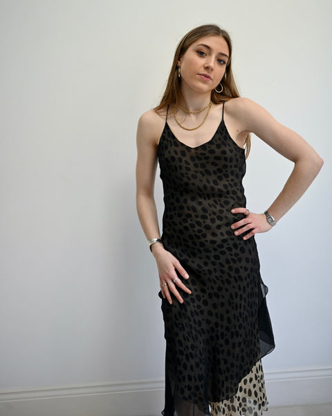 Leopard Silk Slip Dress