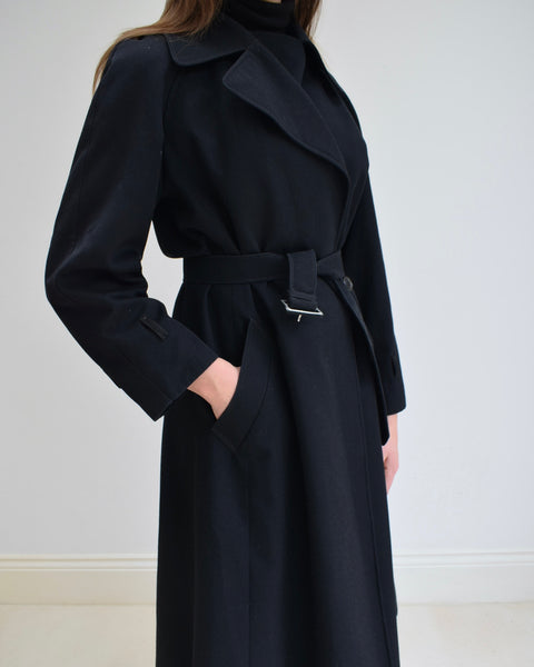 Black Aquascutum Wool Trench