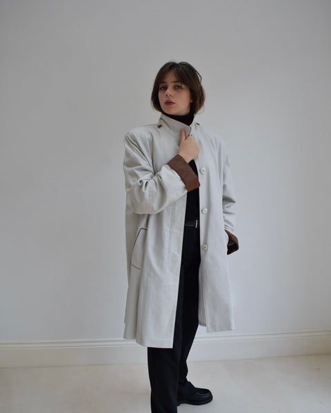 White Leather Trench with Detachable Hood