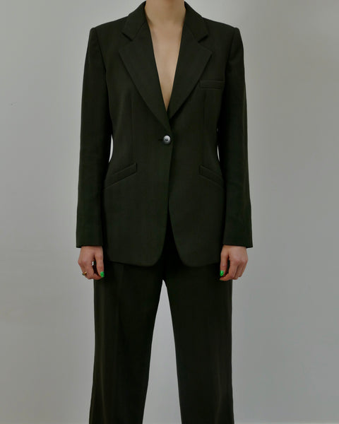 Armani Green Self-Striped Suit