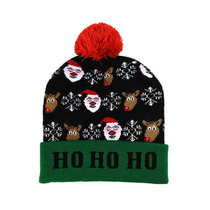 LED Christmas Hat Sweater Knitted Beanie Christmas Light Up Knitted Hat Christmas Gift for Kids Xmas 2021 New Year Decorations