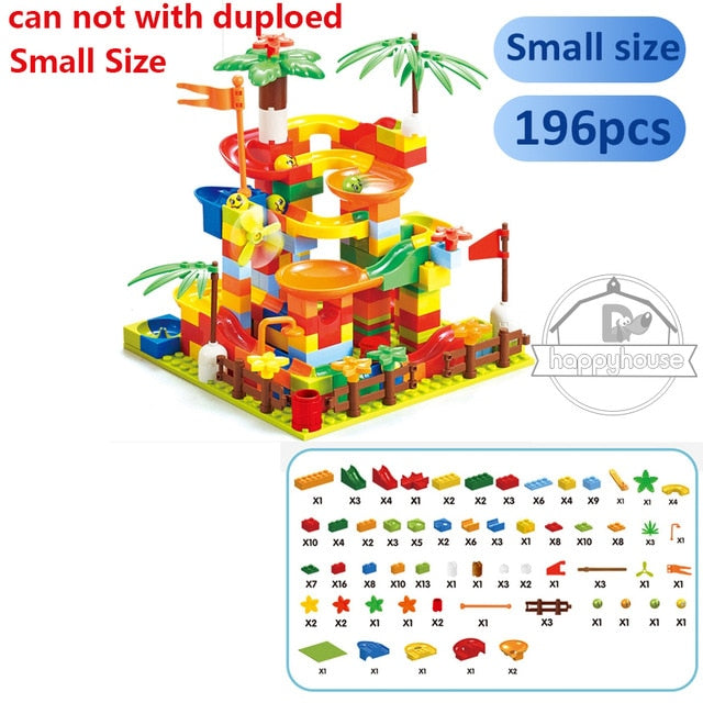 Marble Race Run Blocks Maze Ball Building Blocks Funnel Slide Blocks DIY Bricks Toys For Children Marble Run DIY Blocks