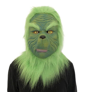 Christmas Monsters Mask Green-haired Latex Headset Ball Party Funny Carnival Masks Head Cover Cosplay For Costume Party