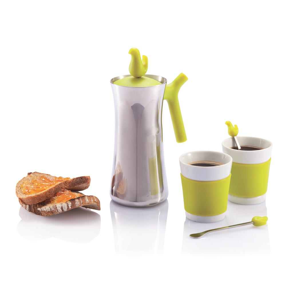 Early bird coffee press with cups, green/silver
