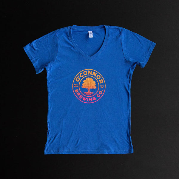 TShirt - Women's Blue V w/ Sunset Logo