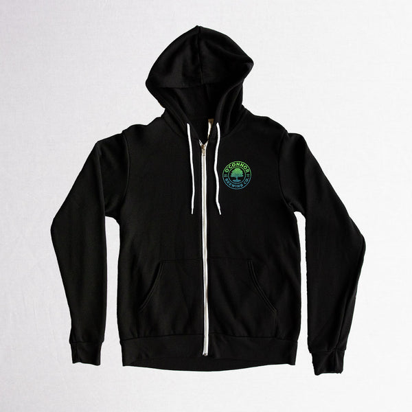 Zip Hoodie - Black w/ Trippy Tree