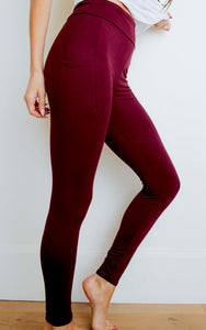 Burgundy Pocket Leggings, Available up to Size 24