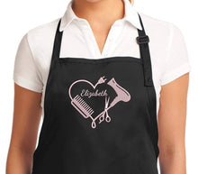 Load image into Gallery viewer, Custom Embroidered hair stylist apron. Hair stylist apron. Hair stylist gift. Hairdresser apron. Personalized hair stylist apron.