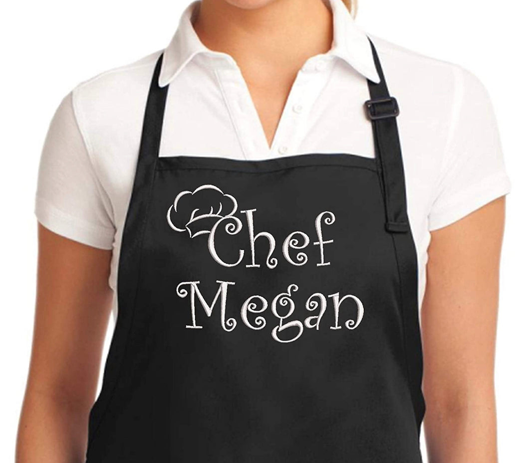 Personalized Apron Embroidered Chef Any Name Design Add a Name, premium quality apron with embroidery, great gift personalized apron