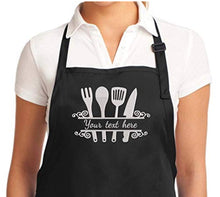 "Load image into Gallery viewer, Personalized Chef Apron Embroidered Kitchen Design Aprons for Women and Men, Kitchen Chef Apron 2 Pockets and 40"" Long Ties, Adjustable Bib Apron for Cooking, Serving - Black/White/Blue/Red"