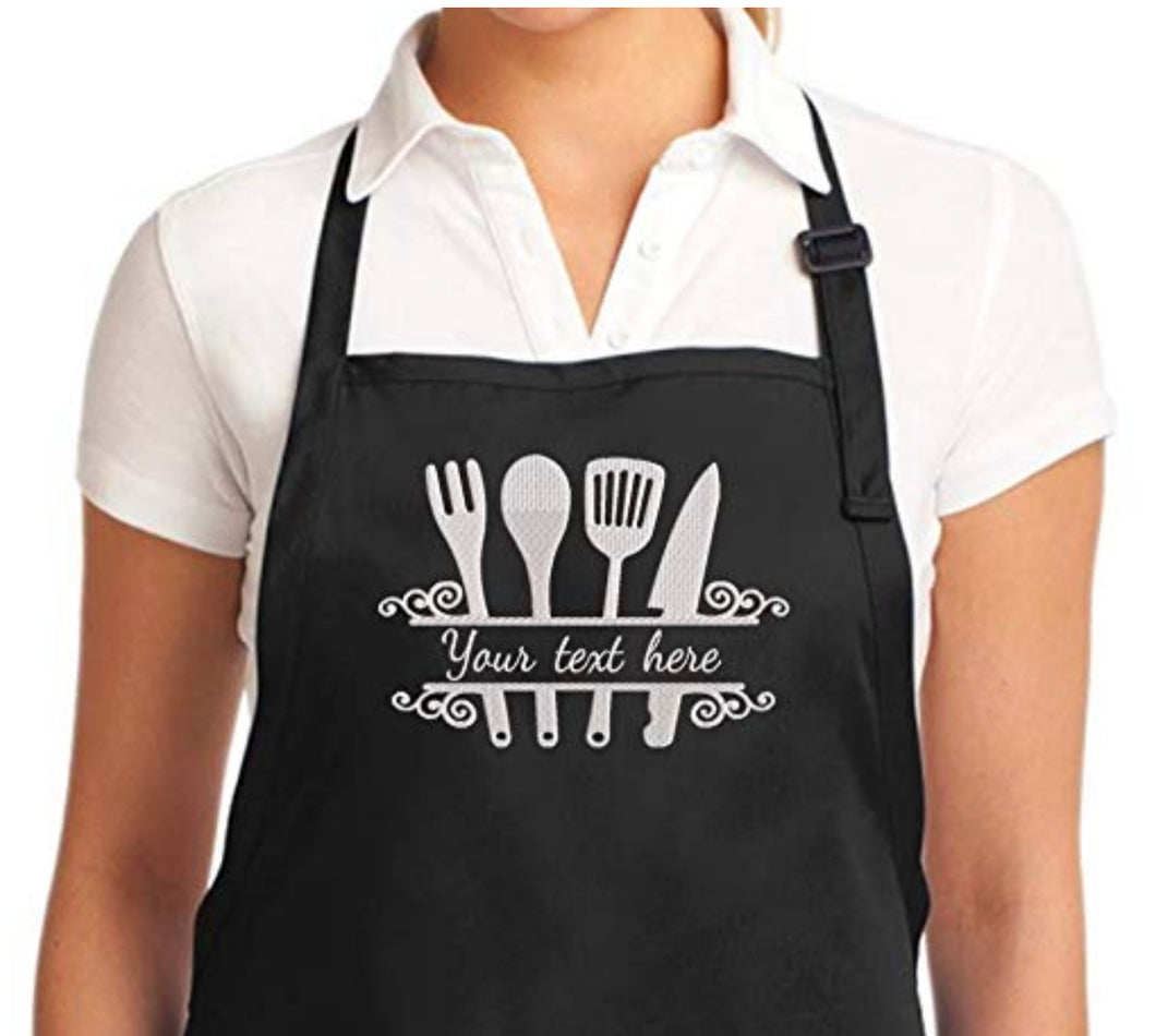 Personalized Chef Apron Embroidered Kitchen Design Aprons for Women and Men, Kitchen Chef Apron 2 Pockets and 40