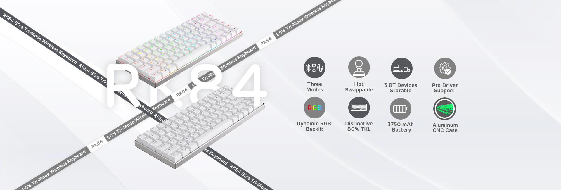 RK ROYAL KLUDGE RK84 Pro 80% RGB Triple Mode BT5.0/2.4G/Wired Hot-Swappable Mechanical Keyboard