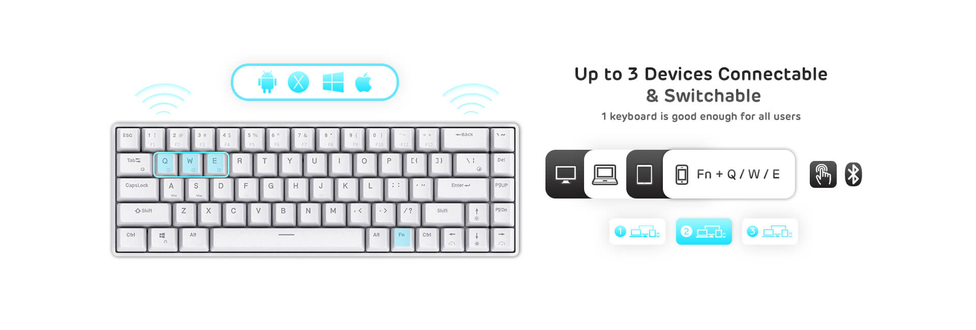 65 white mechanical keyboard kit  with red switches